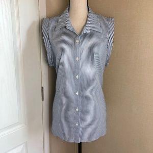 Ann Taylor Sleeveless Stripe Belted Shirt Size 18